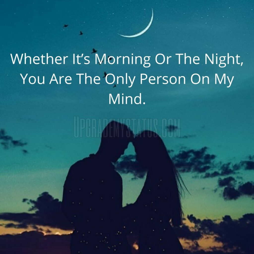 A Girl And Boy Standing Under The Full Moon Sky With Love Status Written On It