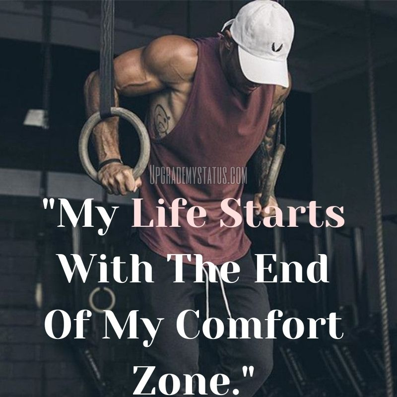 A muscular man is doing exercise with life hard status written on it.