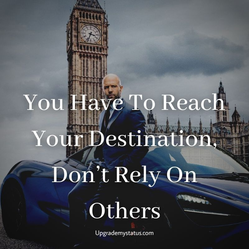 Motivational quote over a image of man standing right next to his blue McLaren in front of a big ben