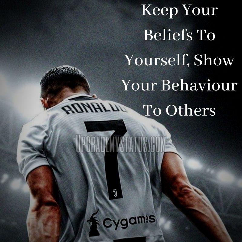 Image of a football player Ronaldo's shirt with Life Caption.