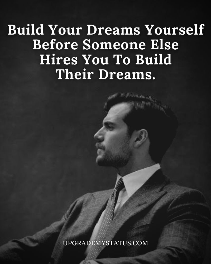 Motivational Status in English over a image of handsome man in suit