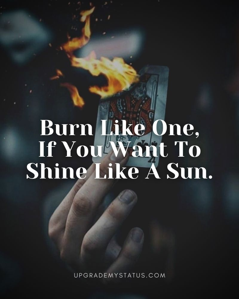 Motivational Attitude Status over a hand holding a burning king of spades