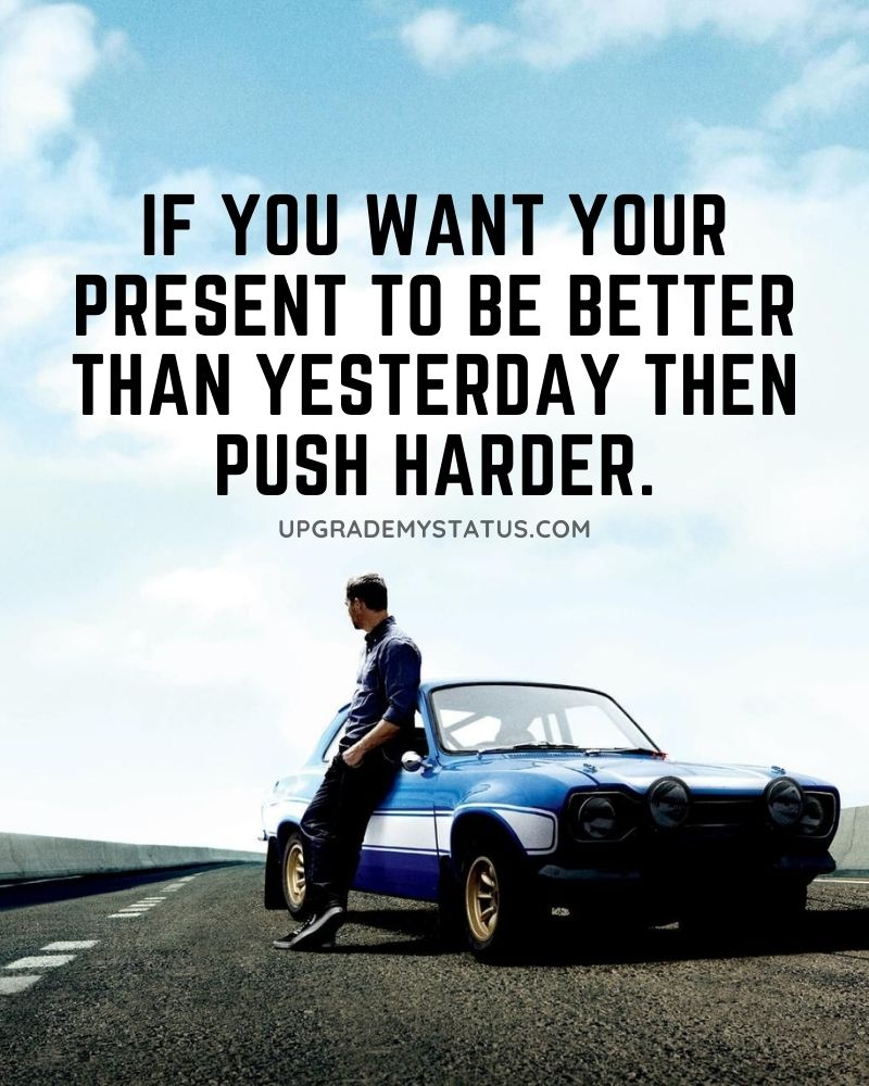 Motivational captions for Facebook over a man standing write next to his blue sports car