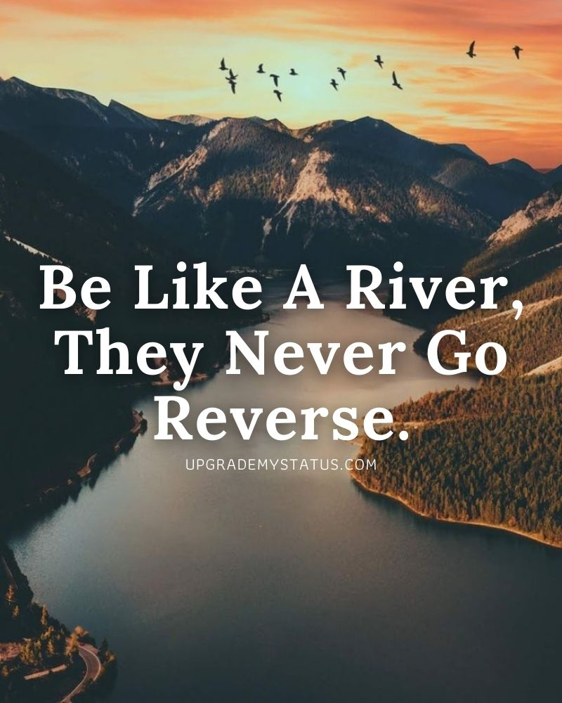 a view of beautiful river with motivational status in English written on it