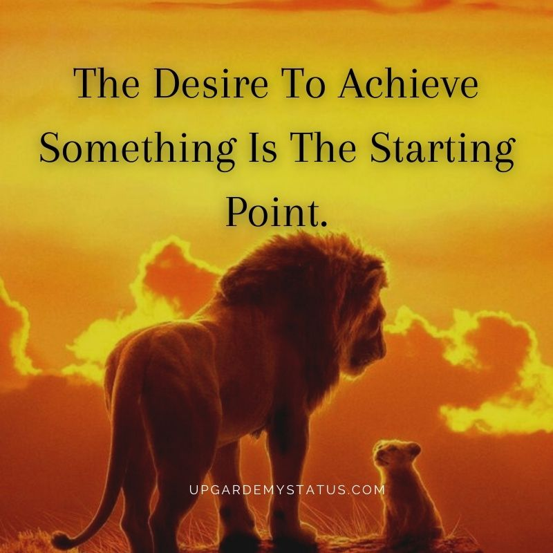 image of lion with his cub with motivational status for success