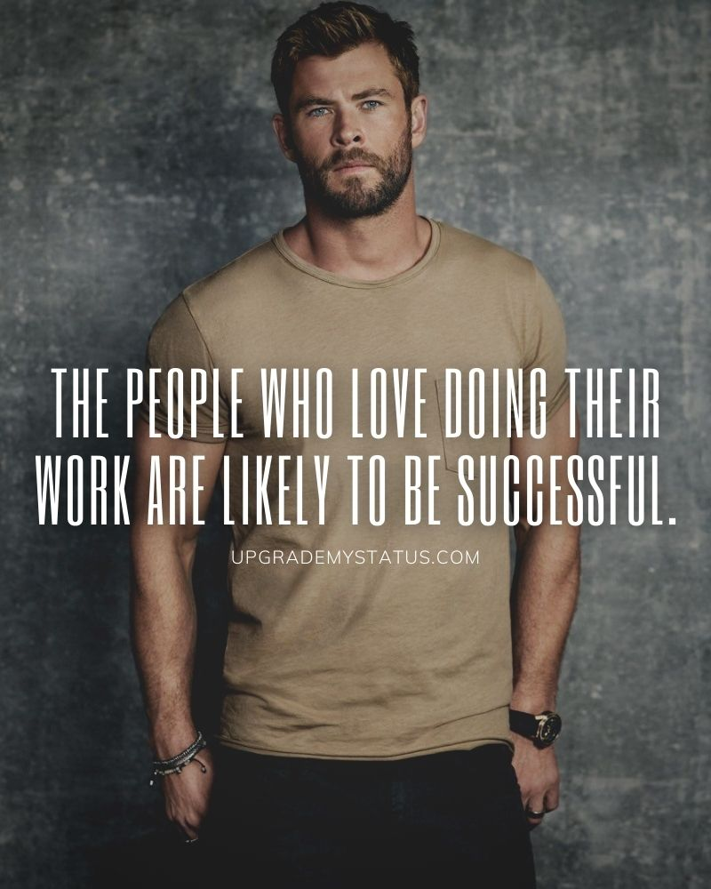 Motivational status in English over a image of handsome man wearing brown T-shirt