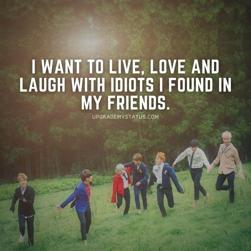 seven friends are running down on a grass having fun with friendship quotes for WhatsApp status written on it.