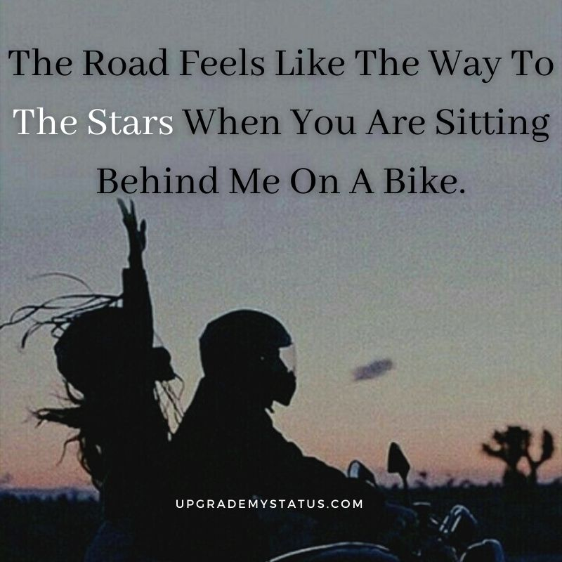 romantic status written over a image on girl and boy riding a motor bike