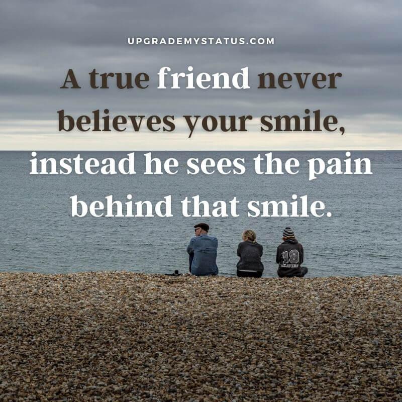 love friendship status written over a image of three friends sitting