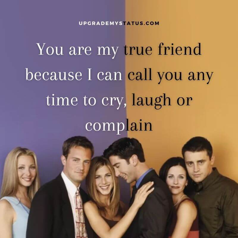 """image from the famous season """"friends"""" over it a caption about friendship is written"""