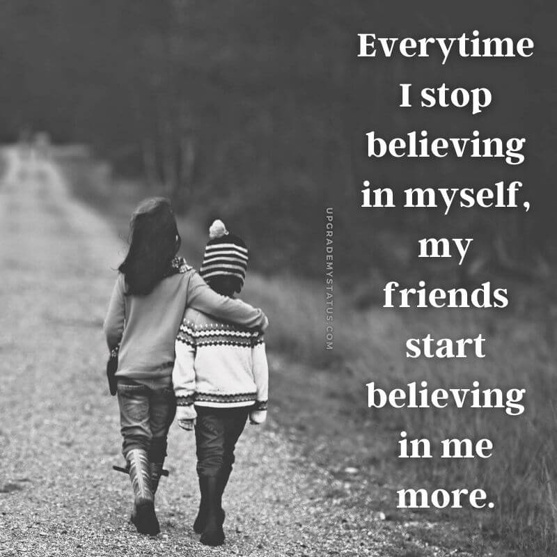 friendship status for whatsapp written over a image of two kids walking down the road