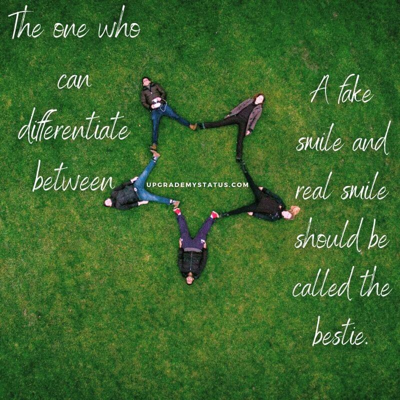 five friends laying on a grass in a way that their feet's are making a star shape over it friendship quote for whatsapp is written