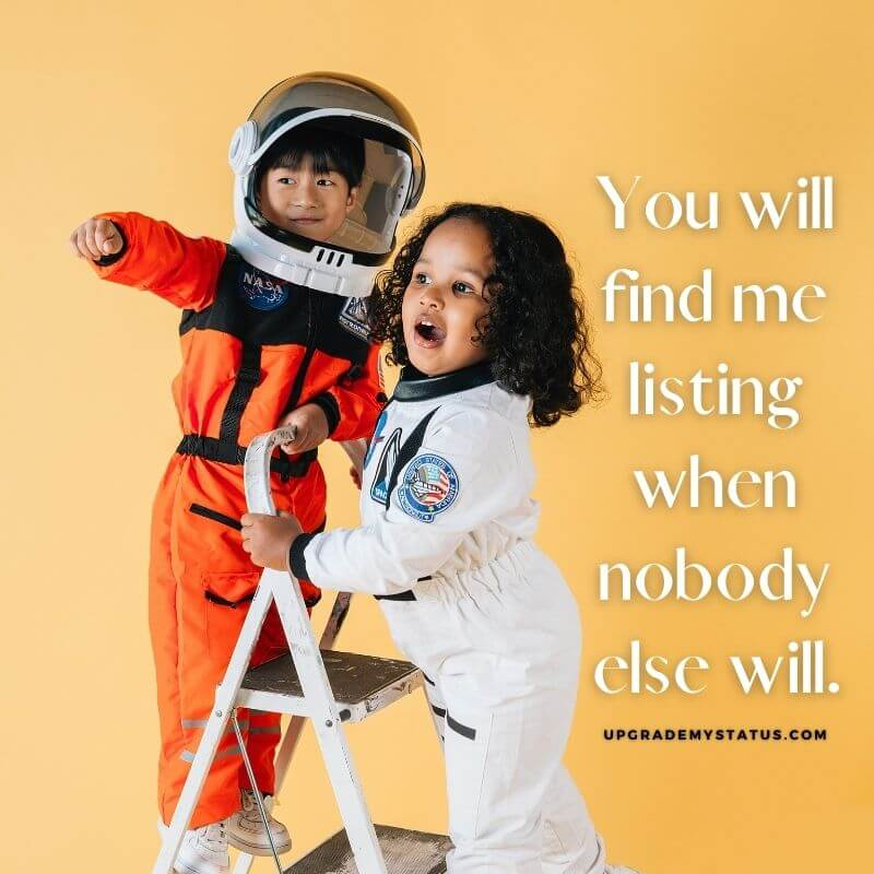 image of a two small kids wearing space suits over it some lines about friendship is written