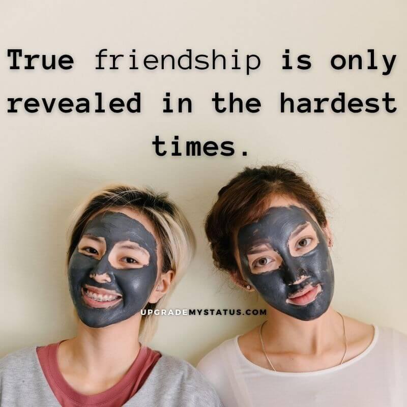 two girls a wearing black mask over it true friendship caption is written