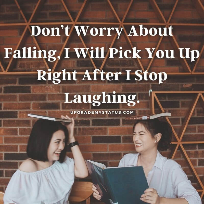 cute friendship status written over a image of two girl having laugh together