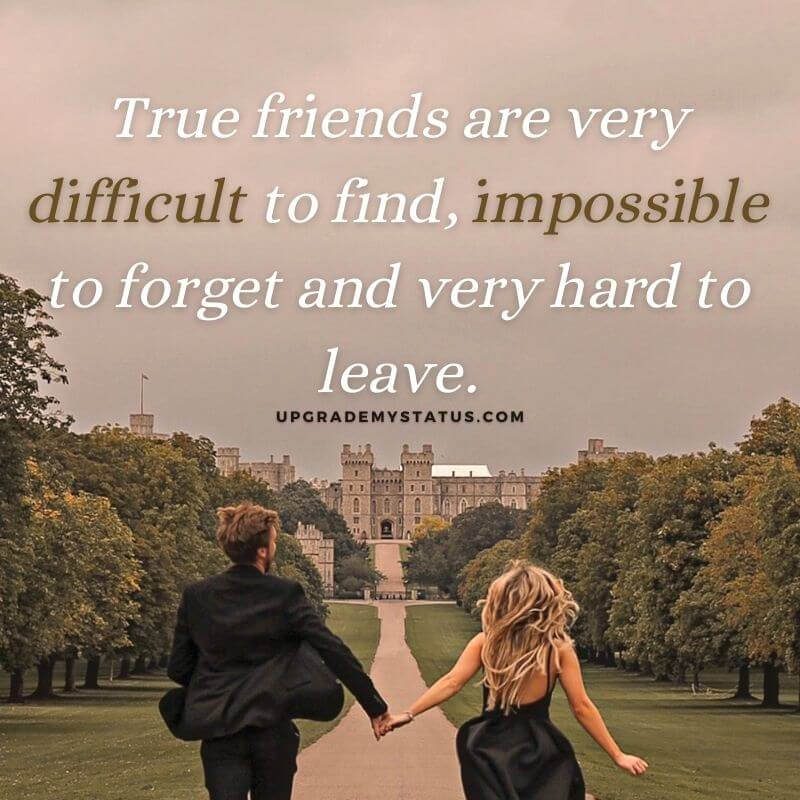 A girl and boy wearing black dresses running towards a castle in a happy mood over it friendship status for whatsapp is written