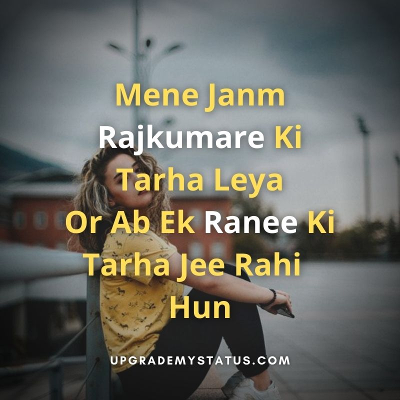 attitude status for girl in hindi written over a image of girl wearing yellow shirt and black trouser