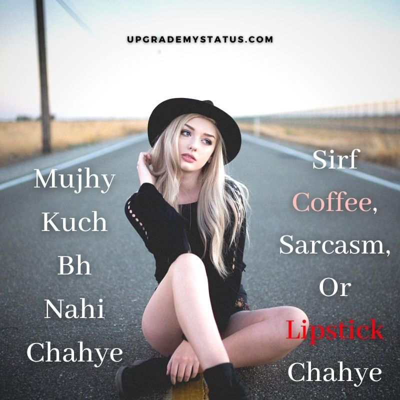attitude status for girl in hindi written over a image of girl wearing short black dress and cap sitting on a road