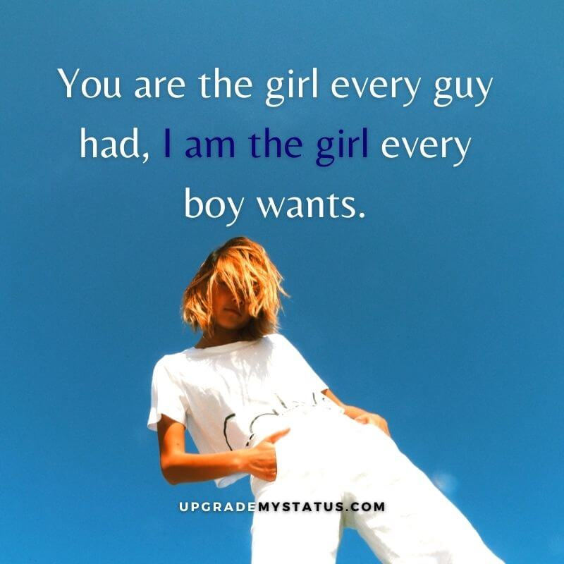 Girl attitude status in english is written over a image of girl wearing white shirt and jeans, standing in a classy way with her hands in the pocket