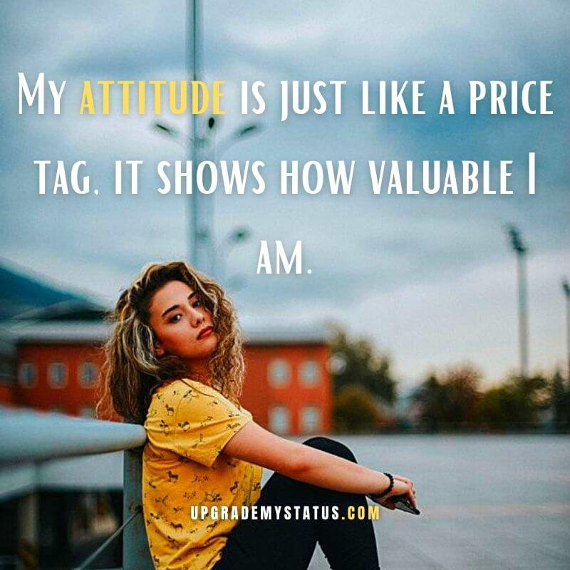 image of a girl wearing black trouser and yellow T-shirt sitting beside the railing Attitude line in English