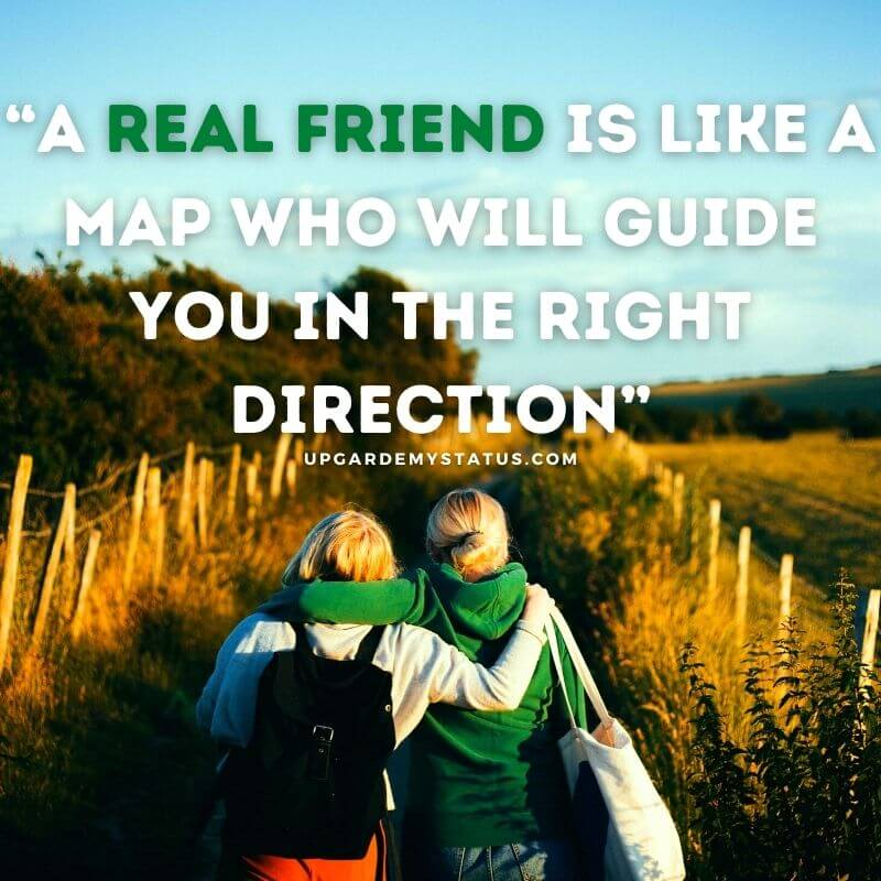 A quotes explaining friendship is written over a image of two girls walking in crop field