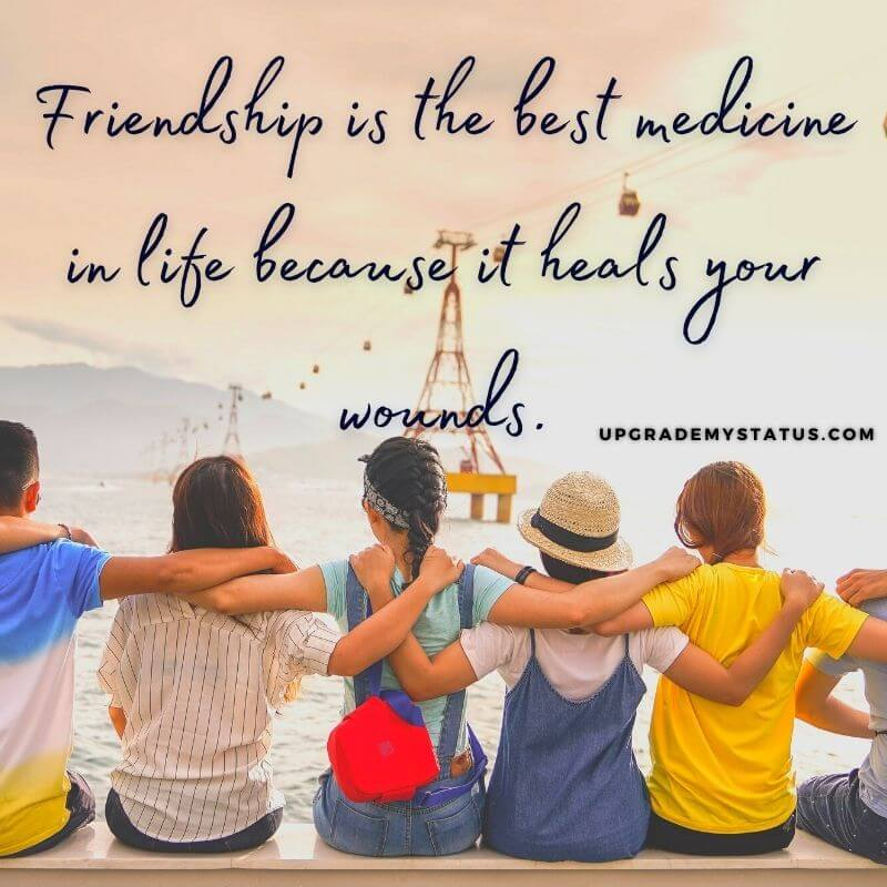 Image of group of friends sitting over it best friendship status is written