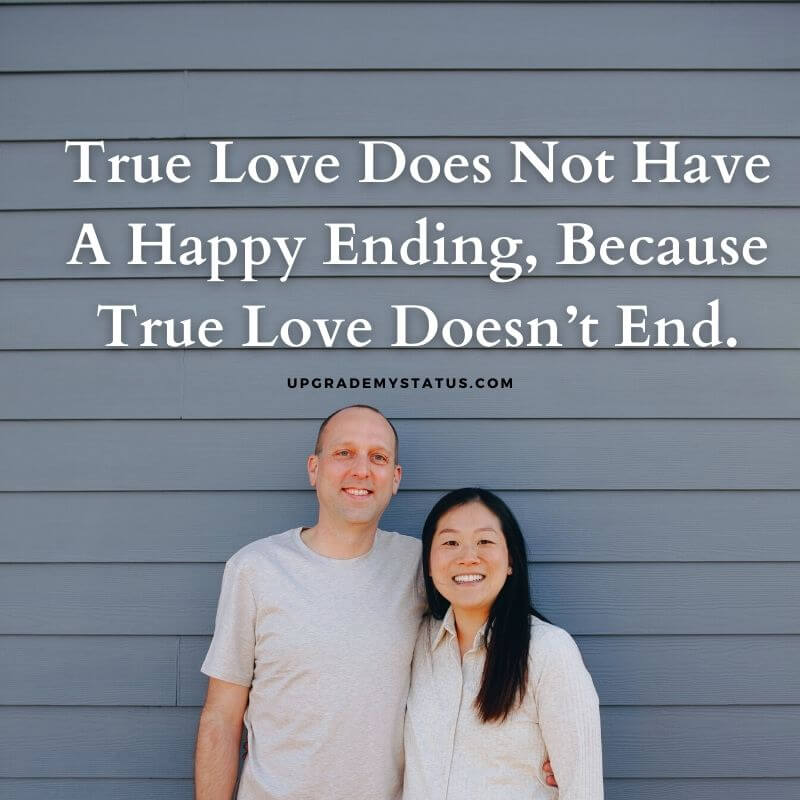 image of middle age couple smiling at the camera over is love line explaining that love never ends is written