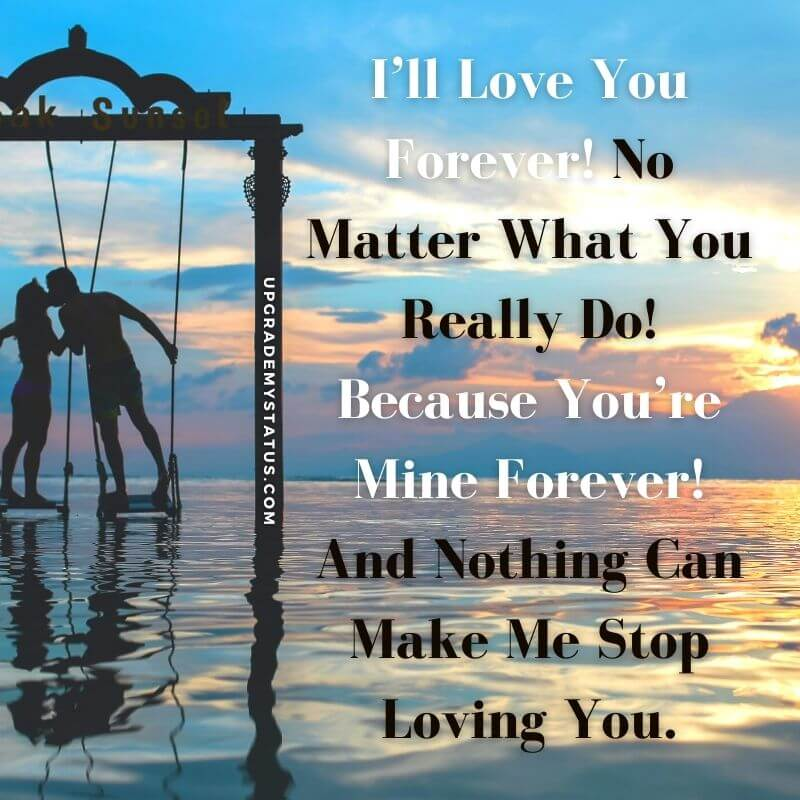 Hearting touching romantic quotes is written over image of couple standing in swings