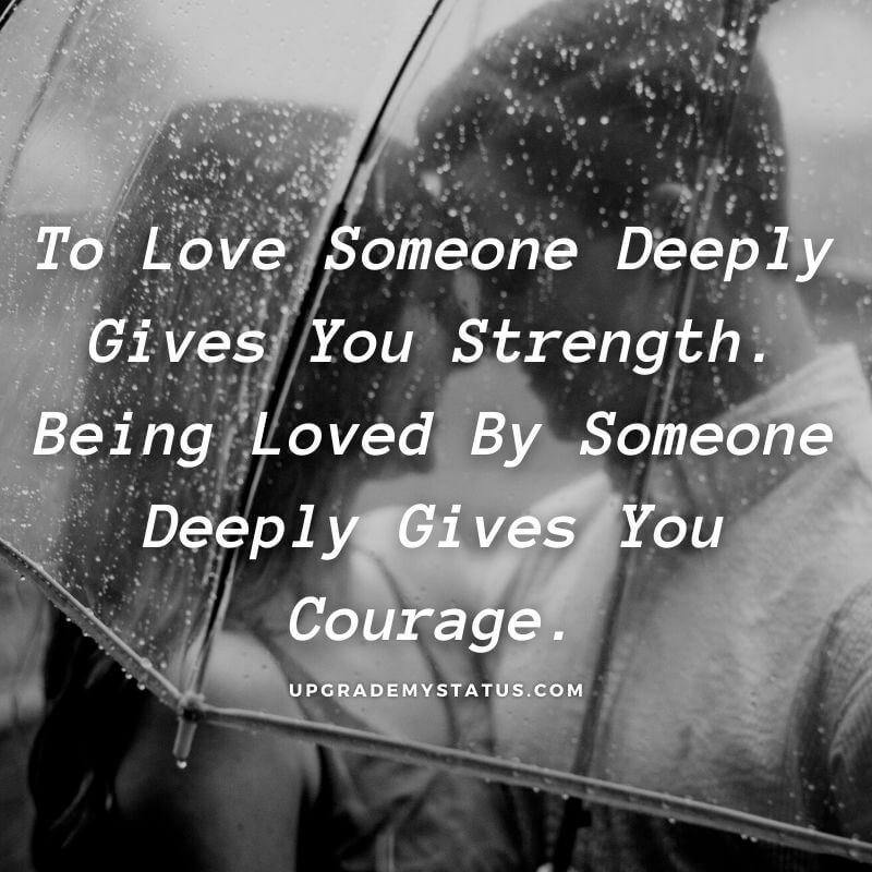 Love quote is written  over a image of boy and girl standing in rain holding a umbrella