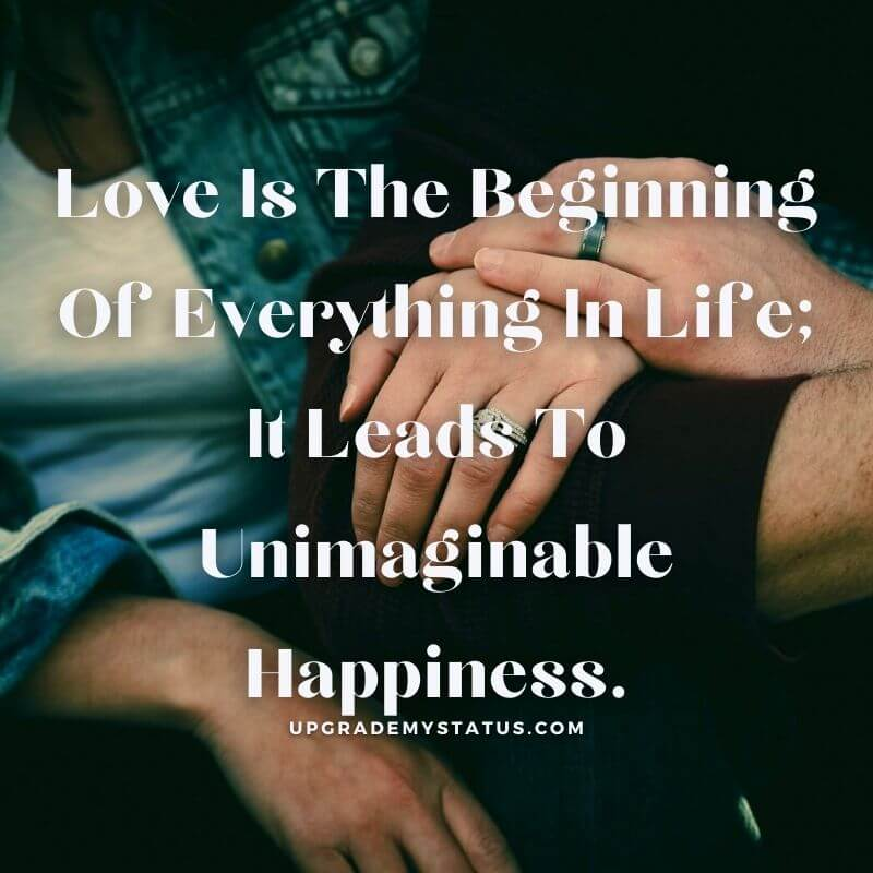 image showing hand of boy on the hand of a girl over it love status explaining how love bring unimaginable happiness is written